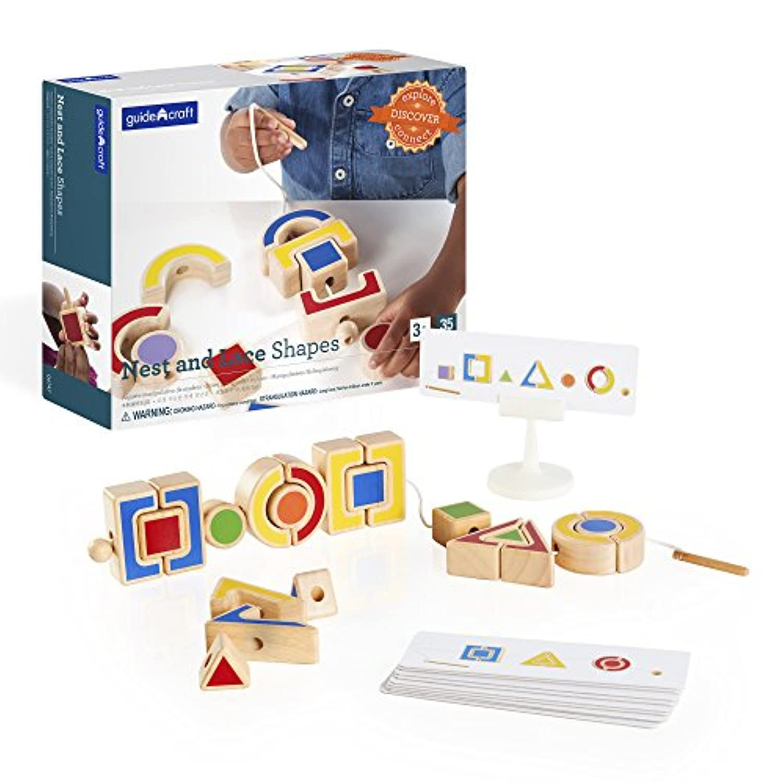 Guidecraftカラフルなネストとレースshapes-木製幾何パズルマッチングと織りゲーム、幼児学習教育玩具