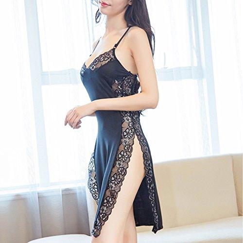 セクシーランジェリー ベビードール 魅惑的なサイドスリット シースルーレースに優雅なシルバーの花柄が胸元やSラインを綺麗に演出 フリーサイズ (ブラック) lusky