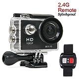スポーツ カメラ Beddingleer 超薄型 Wifi 機能 30m 防水スアクションカメラ 2インチデュアル 170度広角レンズ リモコン付き自転車/車に取り付け可能 20個付属品付 (1080P-ブラック)