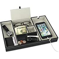 Mantello Valet Tray Nightstand Organiser Charging Station Leather 6 Compartments, Black, Large