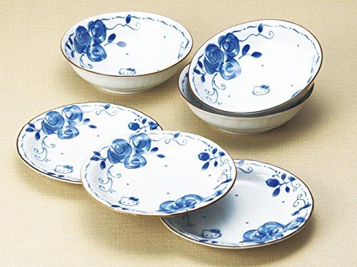 ブルーローズ 皿鉢三揃 6点セット 「化粧箱入」 307743