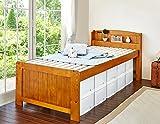 ベッド シングルベッド 高さ調節可能 宮付き コンセント付き すのこ 木製 ブラウン