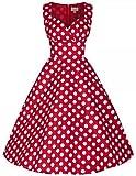 アイキーパー(Eyekepper) ワンピース ロカビリー スイングドレス 50年代 60年代風 オードリー・ヘップバーン風 ヴィンテージ ドット柄 フレアー レディース 結婚式 お呼ばれ パーティー カジュアル デート 通勤 二次会 ドレス レッド
