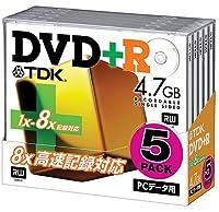 TDK DVD+Rデータ用 1~8倍速対応ワイドプリンタブル 10mm厚ケース入り5枚パック [DVD+R47X5K]