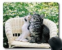マウスパッド、子猫の白い花の枝編み細工品動物かわいい猫のマウスパッド、コンピュータcat123のマウスマット