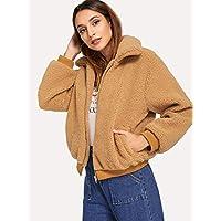 INFASHION Women's Brown Casual Solid Rib Trim Teddy Jacket