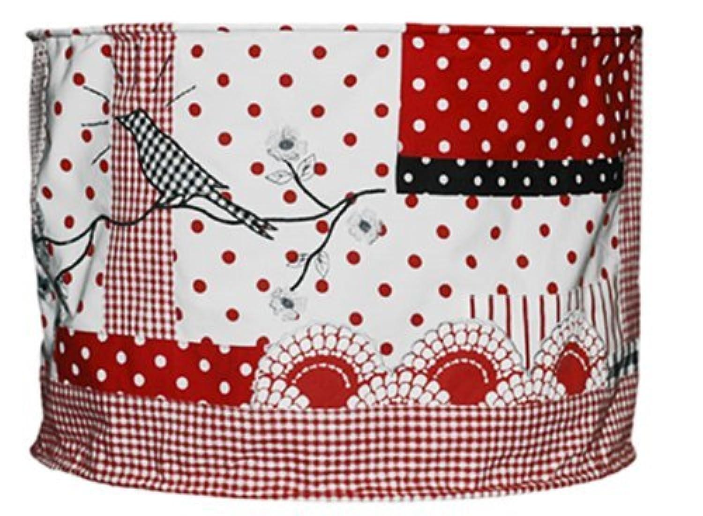 Taftan Checkered Cat Red Lampshade Fabric (Black) by Taftan