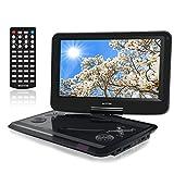 WONNIE 12インチ ポータブルDVDプレーヤー 270度回転 CPRM/SD/MS/MMカード/USB対応 大画面 車載用 リージョンフリー ワイド ゲーム機能付き