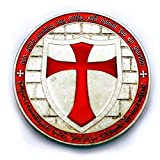 フリーメイソン 十字軍 テンプル騎士団 コイン 新デザインチャレンジコイン (シルバーレッド)