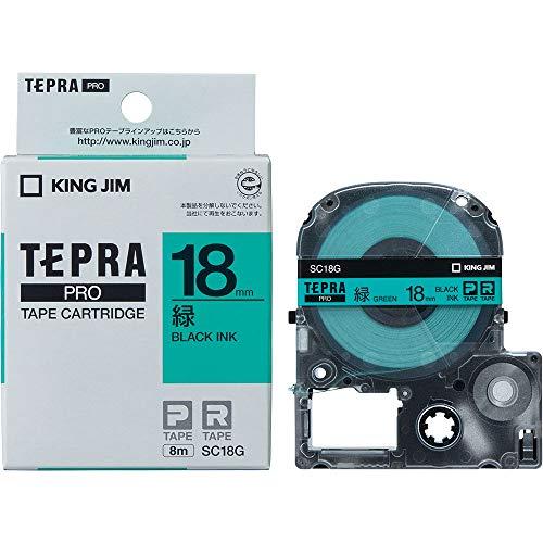 キングジム テープカートリッジ テプラPRO 18mm SC18G 緑