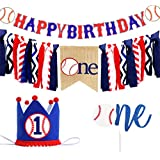 野球のハッピーバースデーバナー 野球ハイチェアバナー 野球ケーキトッパー 野球の誕生日クラウン 野球テーマ 手作り 初めての誕生日バナー ベビーシャワーパーティー用品