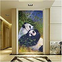 Wuyyii 大カスタム塗装紙新しい中国竹絵画パンダ母と息子深い感覚アート - 200×140センチ