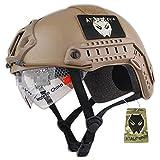 ATAIRSOFT Fast MHタイプ タクティカル アウトドア エアソフトヘルメット 米軍風 多機能サバゲーヘルメット ゴーグル付き NVGマウントレール付き ABS製 野戦ヘルメット (カーキ)