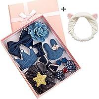 NAKIQ 可愛いヘアピン ベビー小物 ヘアアクセサリ アクセサリー ブティック ヘアボール 4色+猫耳 ヘアバンド カチューム 洗顔 (ブルー)