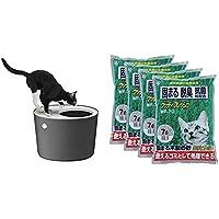 アイリスオーヤマ 上から猫トイレ グレー レギュラー + ウッディフレッシュ 猫砂 7L×4袋