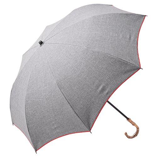 【Rose Blanc】100%完全遮光 日傘 晴雨兼用 プレーン 2段折りたたみ ダンガリー (傘袋付)50cm (ダンガリーグレー×レッドステッチ)
