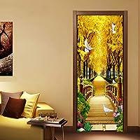 Xbwy 写真の壁紙3Dゴールデンフォレスト自然風景壁画Pvc防水リビングルームのドアのステッカー現代の壁紙-200X140Cm