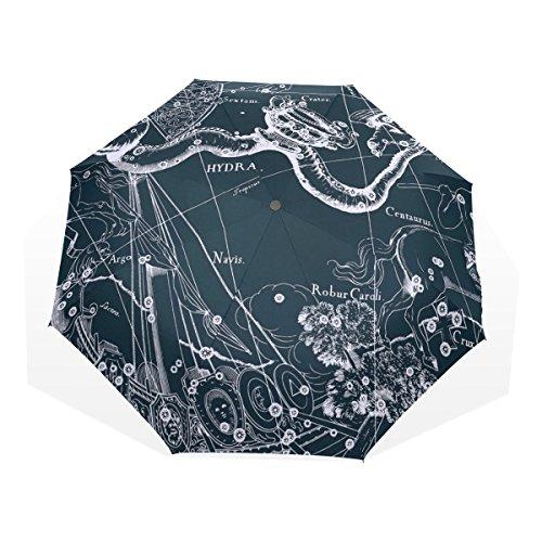 HMWR(ヒマワリ) おしゃれ 神話 星座柄 宇宙柄 星空 うみへび座 蛇 アニマル柄 雑貨 レディース メンズ 子供用 三つ折り傘 折りたたみ傘 頑丈な8本骨 耐強風 軽量 撥水性 大きい 手動開閉 雨傘 日傘 晴雨兼用 収納ケース付 携帯用 かさ
