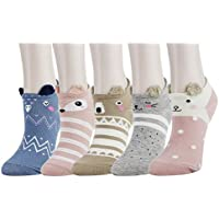 5 Pack Women Girls Funny Cute Novelty Chicken Fox Cotton Low Cut Ankle No Show Socks