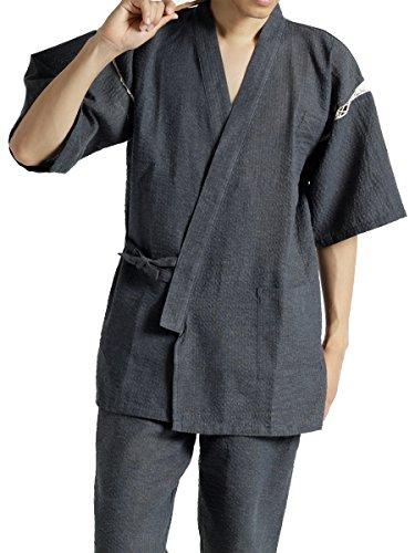 (モノマート) MONO-MART 甚平 高級 しじら織 じんべい 夏 素材 快適 デザイン性 上下 2点セット セット 綿 メンズ メンズ 5.水縹(みなはだ) Lサイズ