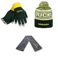 NCAA Oregon Ducks HailスカーフグローブソリッドニットとDrivenビーニー帽子3パックバンドル