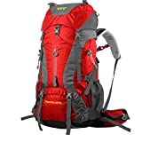 CREEPER 登山かばん 大容量 60L+5L 高品質 メンズ アウトドア スポーツ メンズ レディース 兼用 新モデル 登山リュック ザック 登山用バックパック 防災リュック バックパック軽量 丈夫で長持ち 収納性も抜群 レインカバー付き YD263 (赤い)