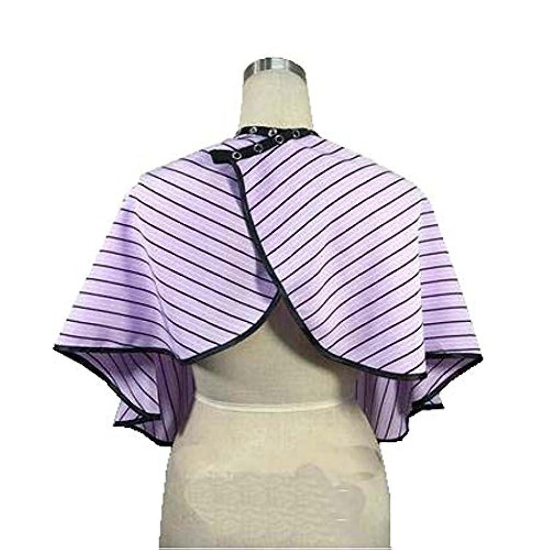 盗賊虚弱貫通美容院のクライアントガウンのボタンの閉鎖、紫色の縞が付いている防水着色の染料の岬のスモック