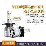 WEISIJI H4/H7/H119005/9006 LEDヘッドライ 8000lm72W 12-24V対応 フォグランプ ヘッドライトバルブ 超高輝度のヘッドライト 防水防塵 瞬間点灯 1年間保証 (H4)