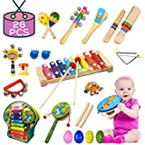 Buself Wooden Percussion Instruments, Musical Instruments Toys Set with Numerous Variety, Beautiful Sound, Resistant Material for Kids, Toddlers, Pre-School