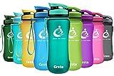 Grsta ボトル 水筒 ウォーターボトル アウトドアボトル スポーツボトル 600ml 自転車 大人 子ども アウトドア スポーツ 登山用 プラスチック製 直飲み BPAフリー 漏れない 大容量 おしゃれ 携帯便利 運動用 全11色(碧,600ml)