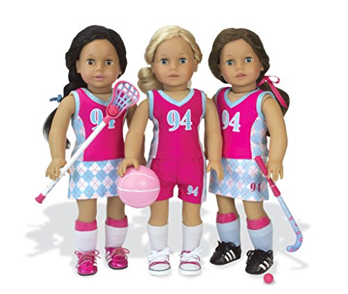 Sophia's Doll Sports Uniform & Equipment Fit 46cm Dolls Tank, Shorts, Skort, Socks, Cleats, Shin Guards, Basketball, Filed Hockey, Lacrosse