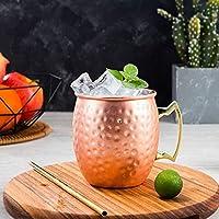 Mugs 銅メッキステンレスマグカクテルグラスビールマグローズゴールド、スタイル:ハンマーポイント