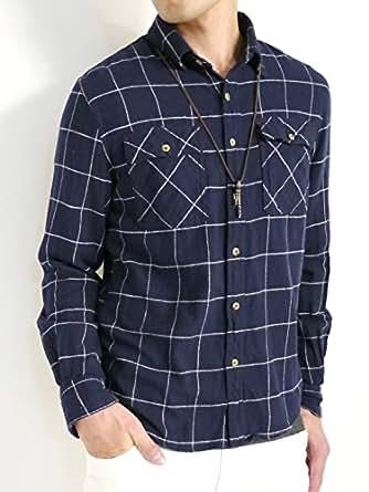 (オークランド) Oakland 起毛 フランネルシャツ シャツ 暖かい ボタンダウン オータム ウィンター 着回し モード 秋 冬 メンズ ウィンドペンネイビー Mサイズ