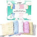 ToddlerFinest Baby Muslin Washcloths- Natural Muslin Cotton Baby Wipes - Soft Newborn Baby Face Towel For Sensitive Skin- Baby Registry As Shower Gift, 6 Pack 12X12 Inches (Variety)
