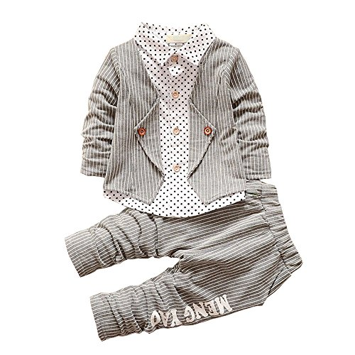 BibiCola New Spring Baby Boy Clothing Toddler Boys 2pcs Clothes Suit Baby Infant Tracksuit Set Kids Gentleman Stripe Outfits (12M, Gray)