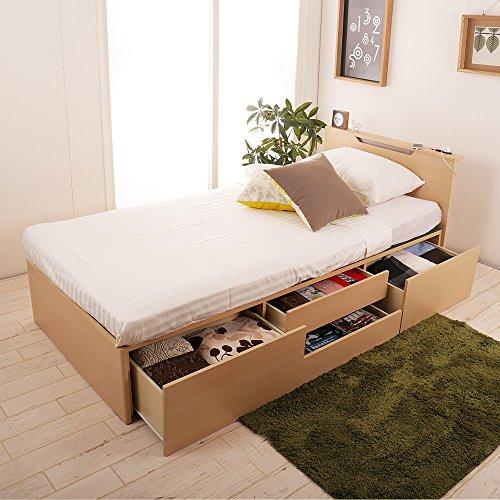 チェストベッド 収納ベッド シングル コンセント付き 照明付き シング/NA...