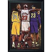 NBAの伝説レブロンジェームズ、マイケルジョーダンアニメアート・壁画ポスター吊り絵18 x 12(約48 cm x 33 cm)松フレーム(フレーム付き)