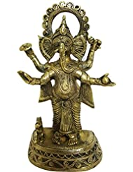 mehrunnisa手作りDhokra真鍮Chaturbhujガネーシャ彫刻( meh2232 )
