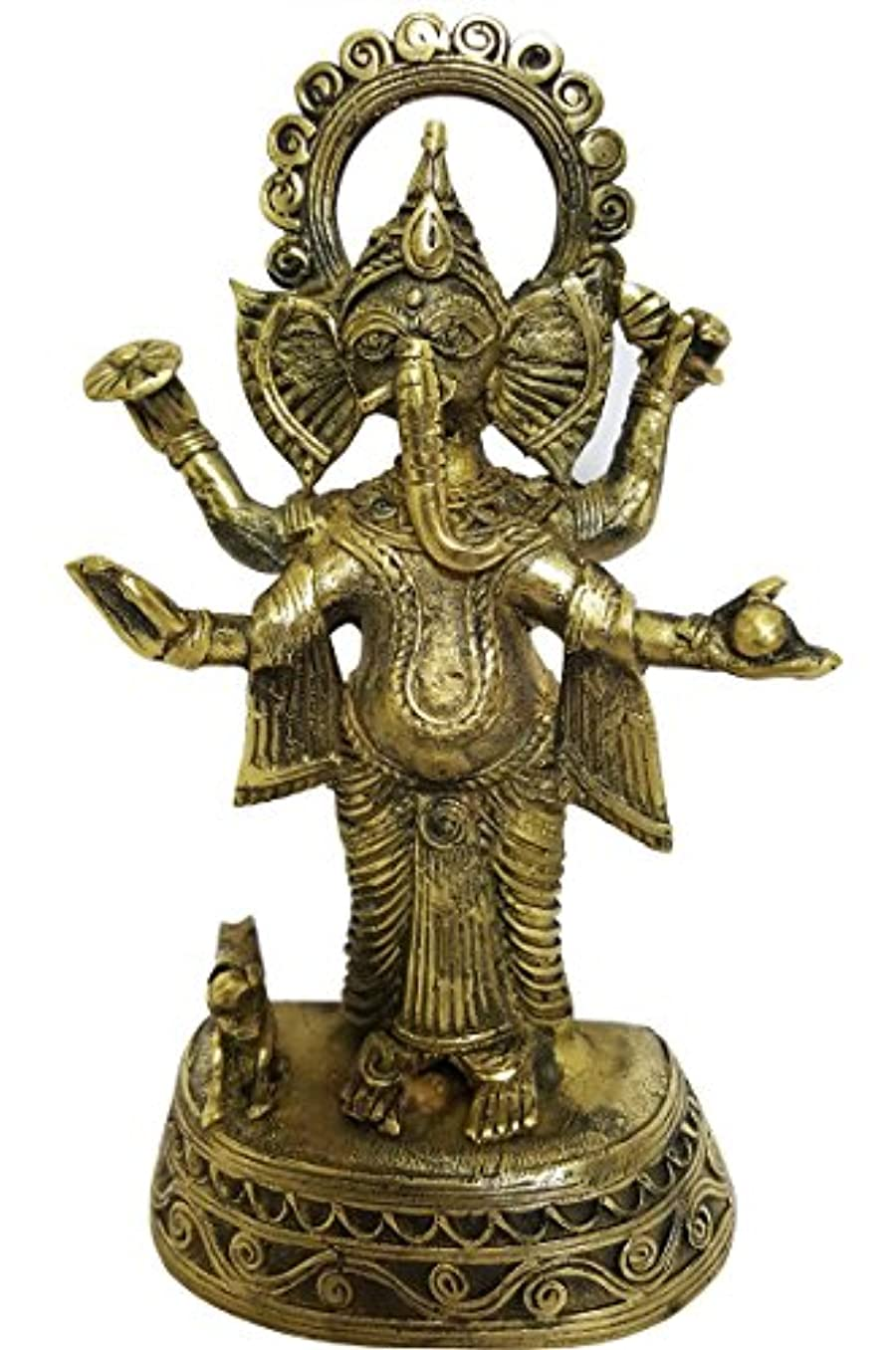 顧問勝利更新mehrunnisa手作りDhokra真鍮Chaturbhujガネーシャ彫刻( meh2232 )