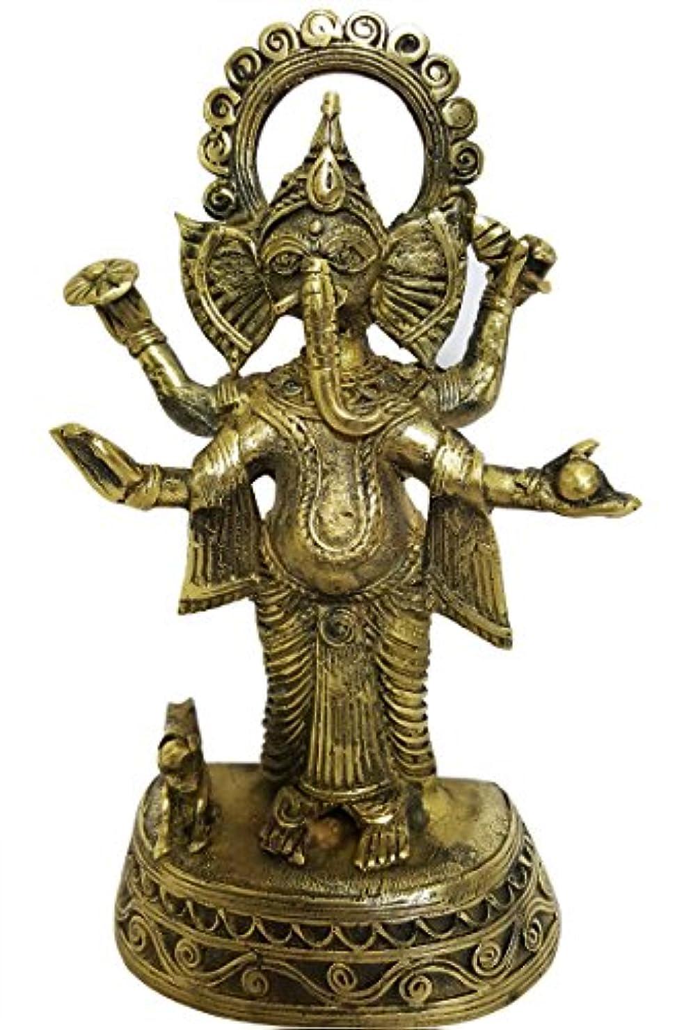 迫害する何でもランチョンmehrunnisa手作りDhokra真鍮Chaturbhujガネーシャ彫刻( meh2232 )