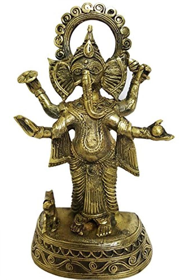 建築純度上mehrunnisa手作りDhokra真鍮Chaturbhujガネーシャ彫刻( meh2232 )