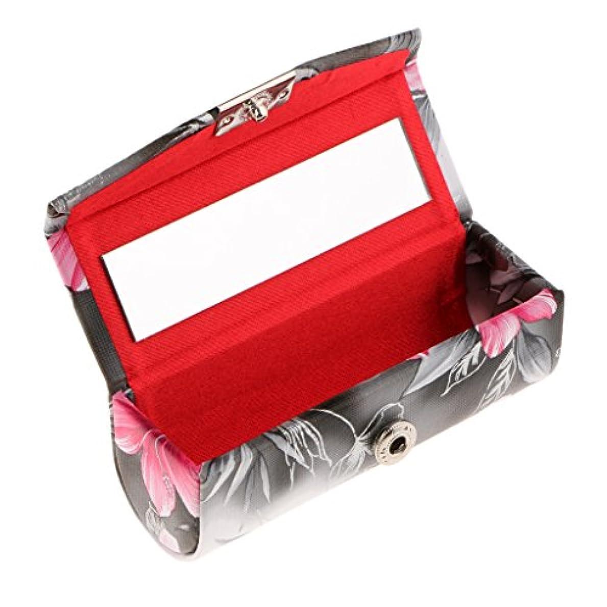 自由ストライド義務づける口紅ケース 化粧ポーチ ミラー付き リップスティックホルダー レトロ プレゼント 全3色 - ブラック
