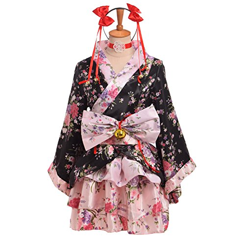 BLESSUME和服 ミニ コスプレ 浴衣 上着 ショート かわいい 羽織 着物ドレス 花魁ドレス 和服コスプレ コスチューム (M)
