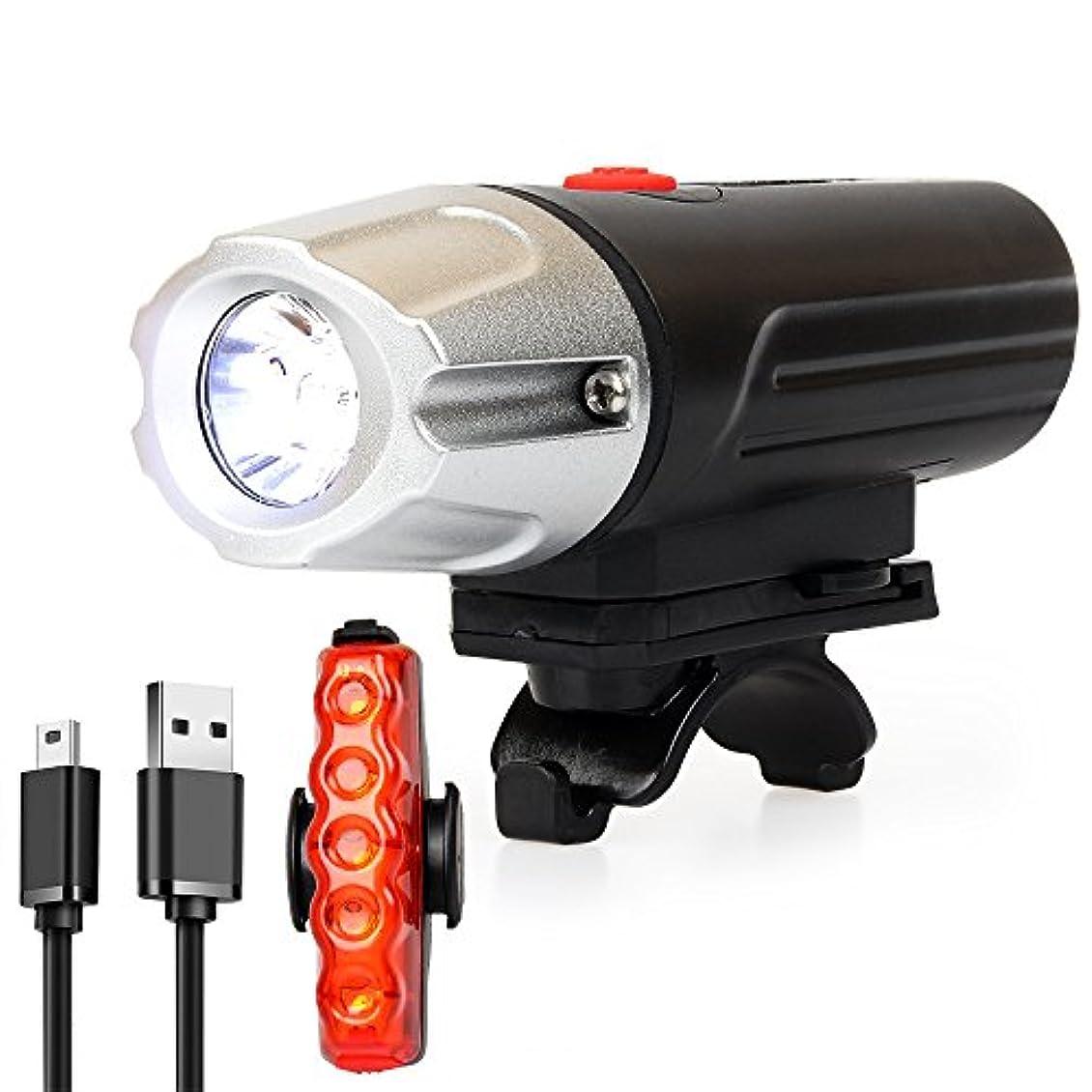 消毒する閲覧するドキドキ自転車ライト テールライト付 Volon USB充電式 前/後照灯 400ルーメン 7段階点灯モード 防水 固定用ホールダー付 懐中電灯(USBケーブル付属)