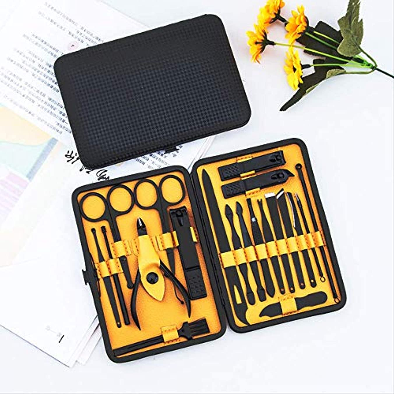 首尾一貫した子猫消費者19爪切り爪切りセット美爪工具ペディキュアセット 黒と黄色の20点セット 黒