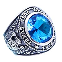 ビンテージ925スターリングシルバーブルークリスタルクラスリングジュエリーwith Eagle for Men ブルー