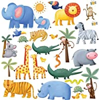 RoomMates Repositionable Childrens Wall Stickers, Jungle Adventure