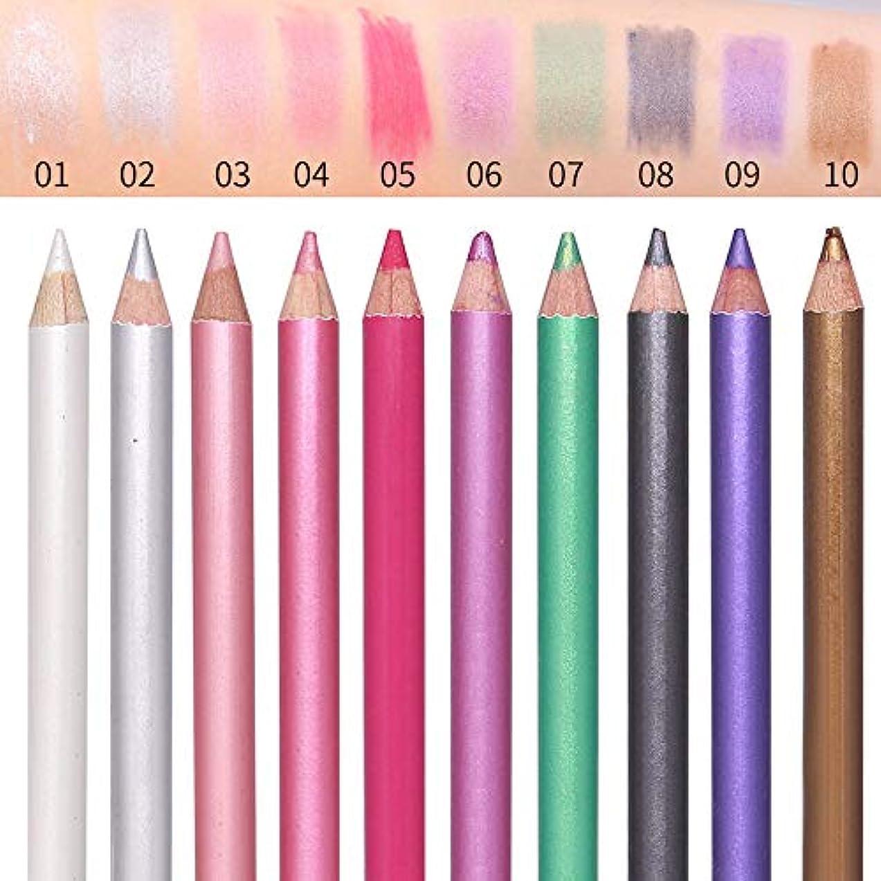 1ピースフェイスアイシャドウペンシルハイライト輪郭ペンスティック防水長続き化粧10色シャドウペンシル付きブレンダー (3)