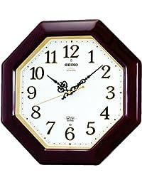 セイコー クロック 掛け時計 電波 アナログ 報時選択式 チャイム&ストライク 八角型 木枠 茶 木地 RX210B SEIKO
