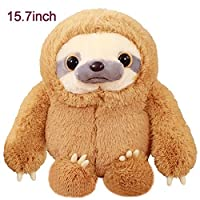 Winsterch Kids Stuffed Animal Sloth Bear Plush Toys Gift Baby Doll Brown Sloth Toy 15.7'' [並行輸入品]